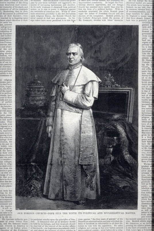 """""""Our Foreign Church - Pope Pius IX Its Spiritual and Eccliastical Master"""" from Harper's Weekly,  (September 14. 1872), pp. 717 & 718 and pp. 723 & 724"""