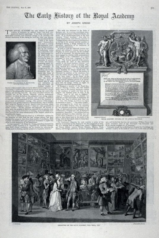 The Early History O f The Royal Academy pages 501 through 508, from The Graphic 8 may 1886.