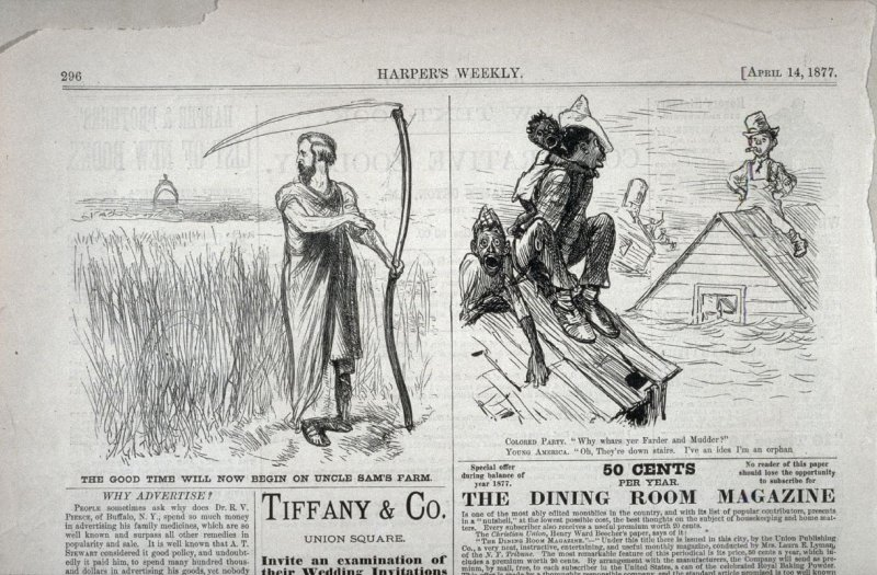 """""""The Good Time will now begin on Uncle Sam's Farm"""" and """"Why Wars Yer Fadder and Mudder?"""" -  from Harper's Weekly, (April 14, 1877), pp. 292 & 296"""