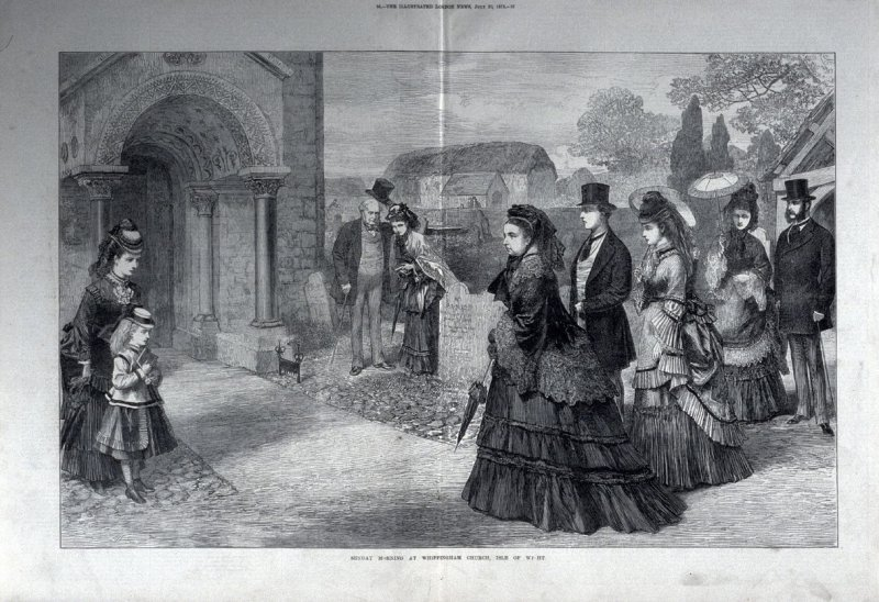 Sunday Morning at Whippingham Church, Ilse of Wight-pages 56 & 57, from The Illustrated London News (20 July 1872)