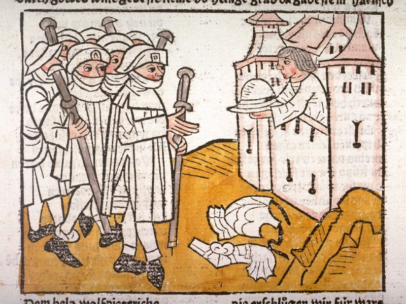 Wolfdietrich and twelve knights disguised as Christian pilgrims approach the walls of Constantinople, from Das Heldenbuch (Strasbourg: Johann Prüss, 1479)