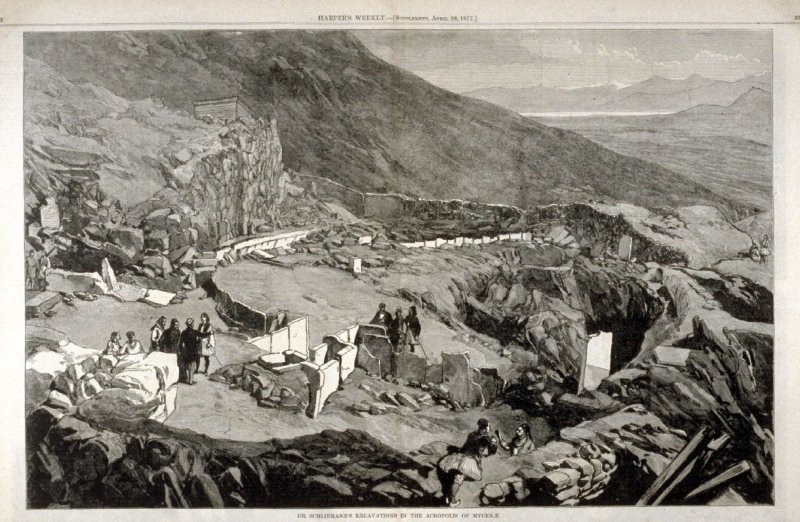 Dr. Schliemann's Excavations in the Acropolis of Mycenae, from Harper's Weekly, (April 28, 1877), pp. 338 & 339