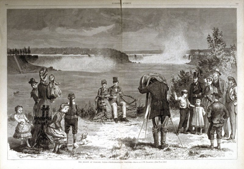 The Season at Niagara Falls- Photographing Visitors,  from Harper's Weekly, (August 18. 1877), pp. 644-645