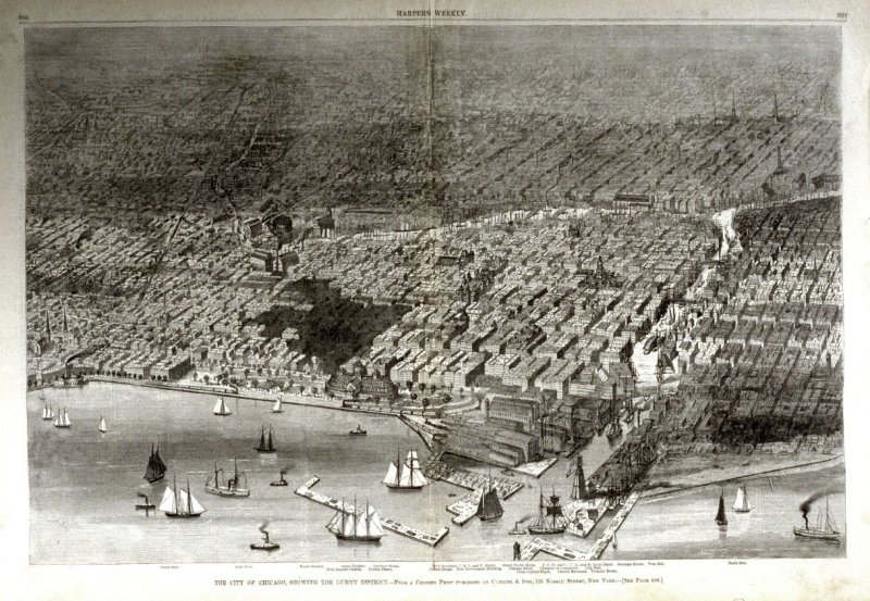 The City of Chicago, showing the burnt District - from Harper's Weekly, (August 1, 1874), pp. 636 & 637