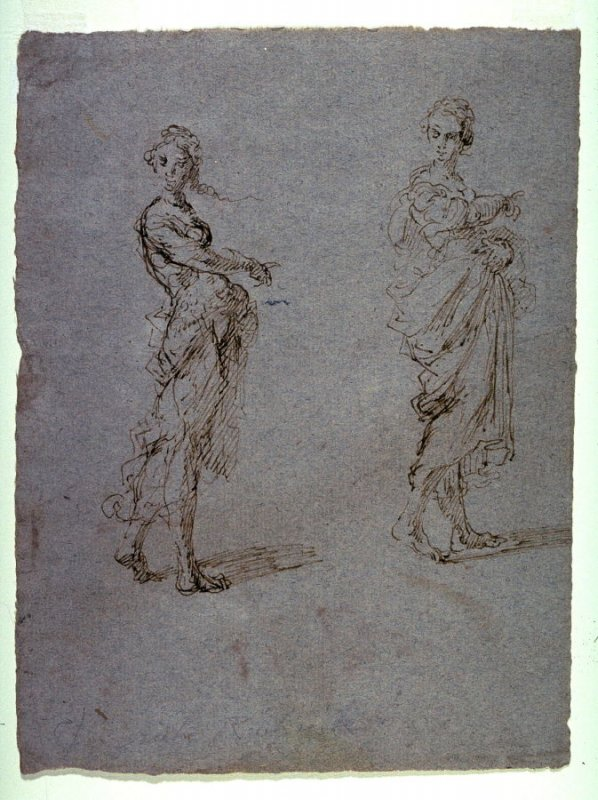 Recto: Two Studies of a Woman, StandingVerso: Study of a Man's Right Arm and Hand with Pen
