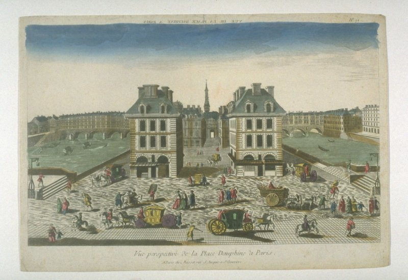 Vue d'optique of the Place Dauphine, Paris