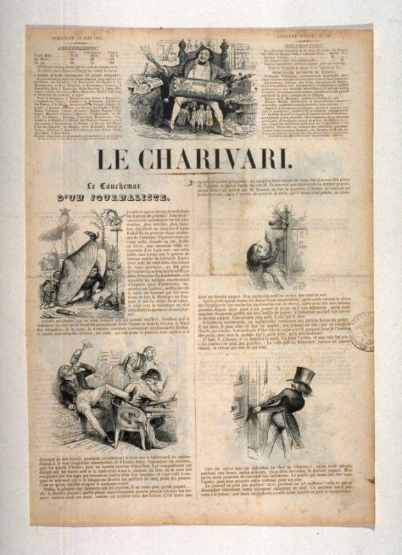 Page from 'Le Charivari'- with illustrations on recto and verso