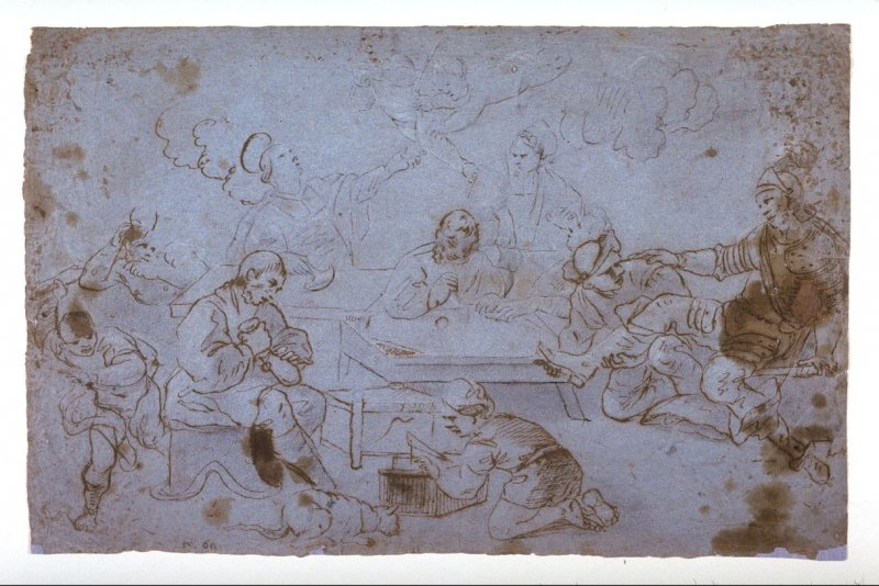 Recto: Interior scene (workshop with saint)Verso: Male figure in the clouds