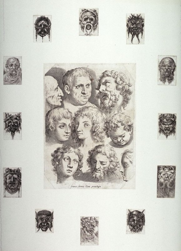 Twelve small grotesque heads mounted on a sheet with Studies of Heads