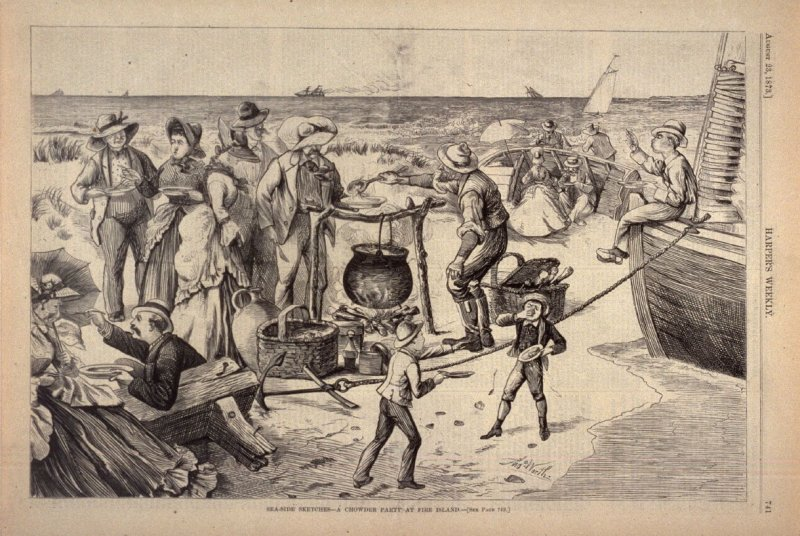 Sea-side Sketches - A Chowder Party at Fire Island - from Harper's Weekly, (23 August 1873), p. 741