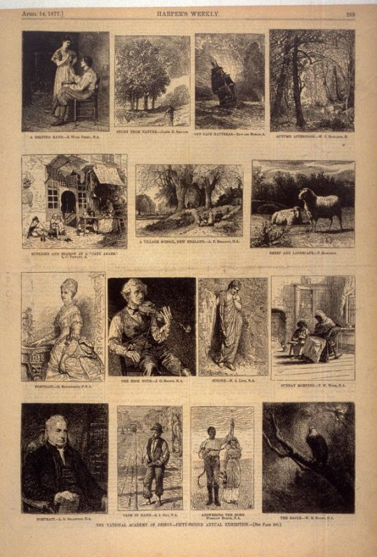 Fifteen works from The National Academy of Design - Fifty-Second Annual Exhibition from Harper's Weekly, (14 April 1877), p. 289