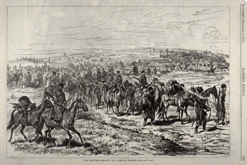 War Sketches - Breaking up a Camp of Cossacks - from Harper's Weekly, (1 September 1877), p. 693