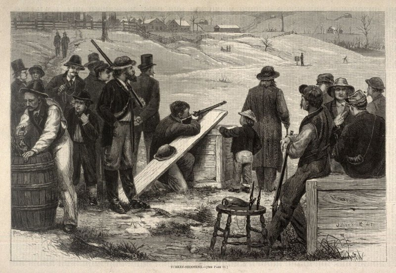 Turkey-Shooting - from Harper's Weekly, (17 January 1874), p. 60