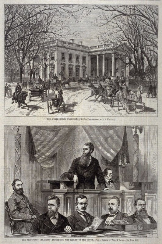 The White House, Washington, D.C. -and- The Presidency- Mr. Ferry Announcing the Result of the Count, from Harper's Weekly, (17 March 1877), p. 205
