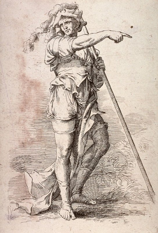 Soldier Holding a Cane and Pointing, copy in reverse after the etching by Salvator Rosa from the series Figurine