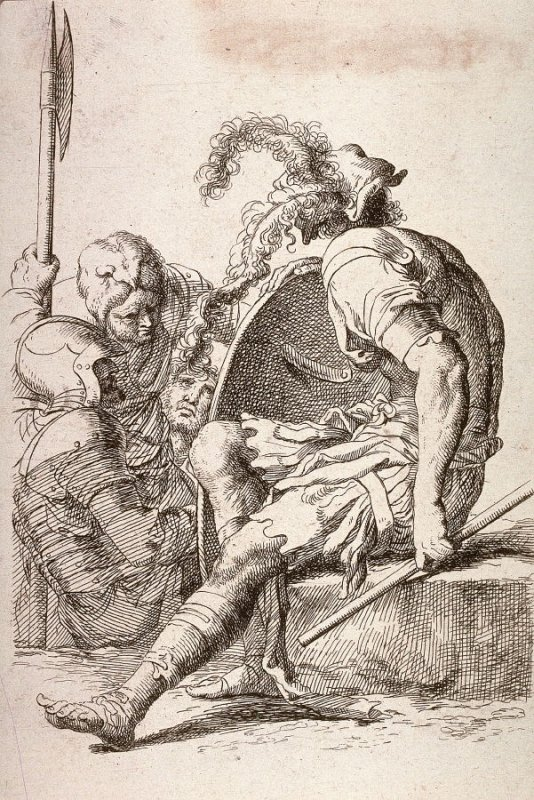 Four Soldiers, One Seated on a Stone, copy in reverse after the etching by Salvator Rosa from the series Figurine