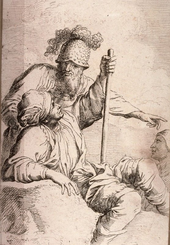 Man with Cane, Seated, and Soldier in Helmet, copy in reverse after the etching by Salvator Rosa from the series Figurine