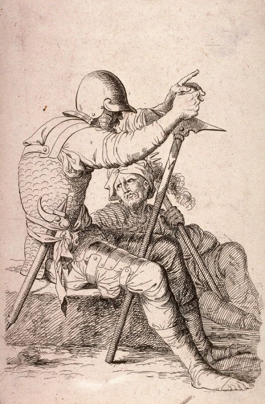 Two Soldiers, Seated, copy in reverse after the etching by Salvator Rosa from the series Figurine