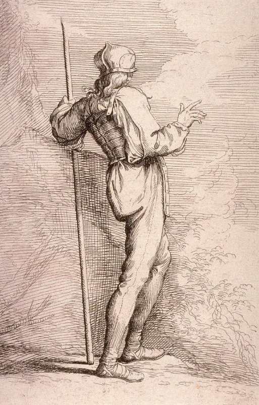 Soldier, Standing, Holding a Long Cane Before a Rocky Wall, copy in reverse after the etching by Salvator Rosa from the series Figurine