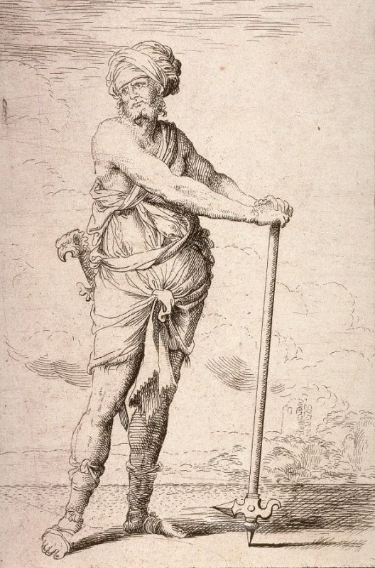 Soldier, Standing, Holding a Pike with Both Hands, copy in reverse after the etching by Salvator Rosa from the series Figurine