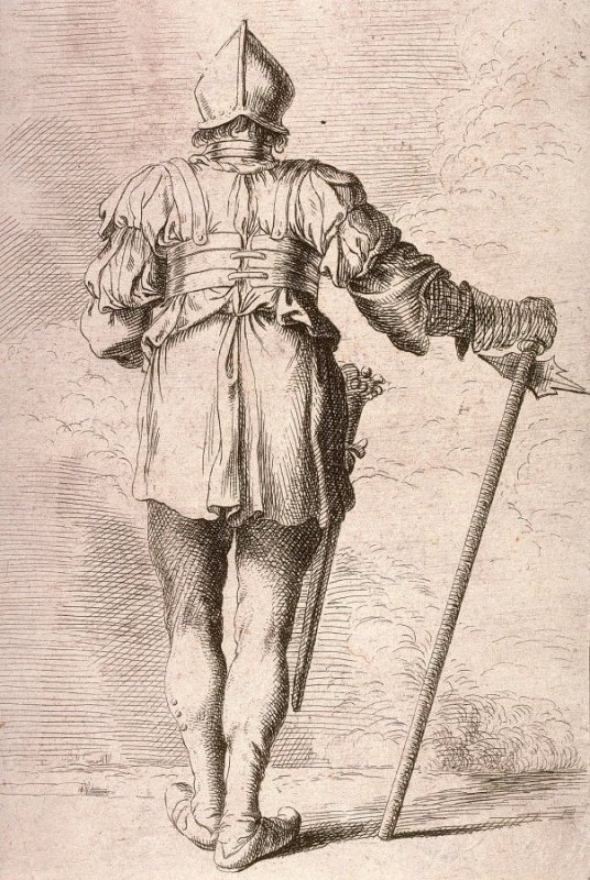 Soldier, Standing, Seen from Behind, in a Helmet, Holding a Cane, copy in reverse after the etching by Salvator Rosa from the series Figurine