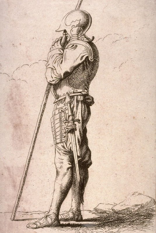 Soldier Supported by a Long Cane, copy in reverse after the etching by Salvator Rosa from the series Figurine