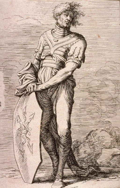 Soldier Holding a Shield, copy in reverse after the etching by Salvator Rosa from the series Figurine