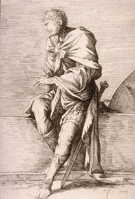 Soldier, Seated, copy in reverse after the etching by Salvator Rosa from the series Figurine