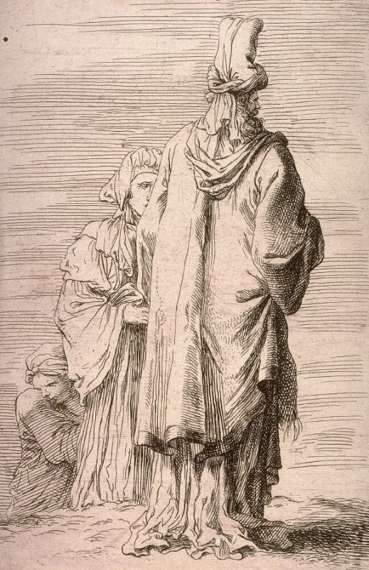 Oriental Figure in Turban, Seen from Behind, copy in reverse after the etching by Salvator Rosa from the series Figurine