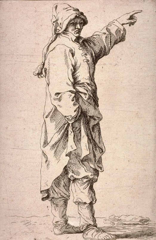 Man Standing, with Arm Raised, Pointing, copy in reverse after the etching by Salvator Rosa from the series Figurine