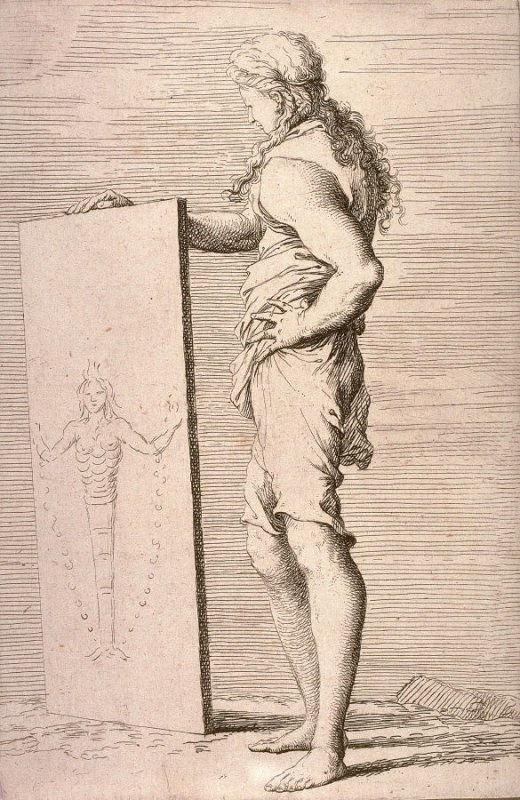 Young Man Viewing a Painting, copy in reverse after the etching by Salvator Rosa from the series Figurine