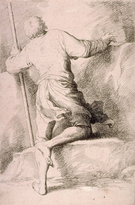 Man with a Staff, Seen from Behind, copy in reverse after the etching by Salvator Rosa from the series Figurine
