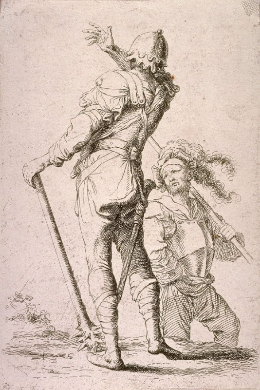 Two Soldiers, One Seen from Behind Holding a Club, copy in reverse after the etching by Salvator Rosa from the series Figurine