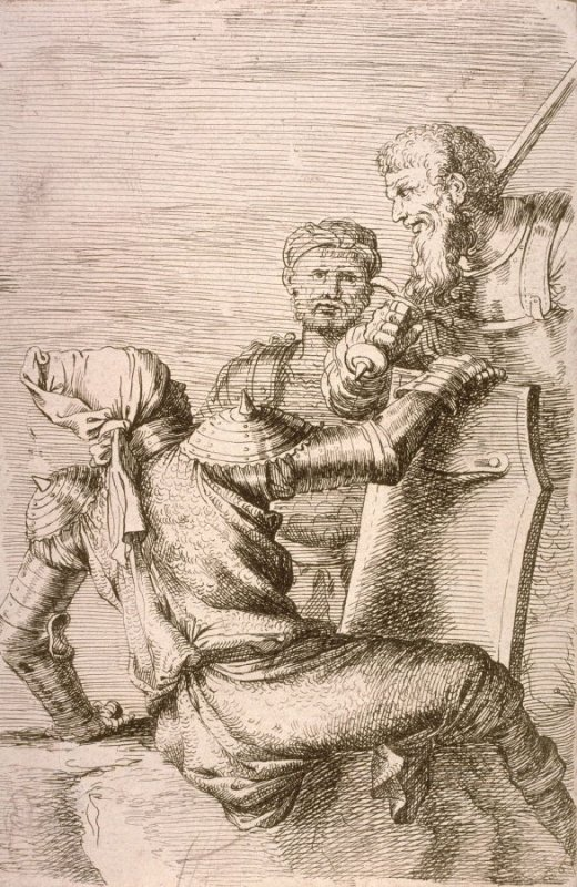Two Soldiers, Facing a Third who Holds a Shield, copy in reverse after the etching by Salvator Rosa from the series Figurine