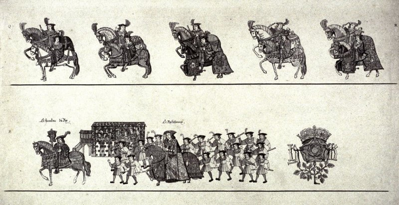 None; the king's cortege come to the opening of the tournament, past a stand filled with members of the court, 15th-16th century (?)