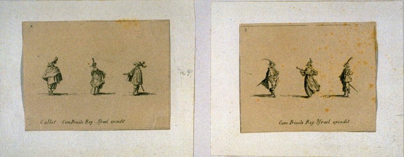 Page from an incomplete (12 of 14) bound set of copies of Les Fantasies by Jacques Callot