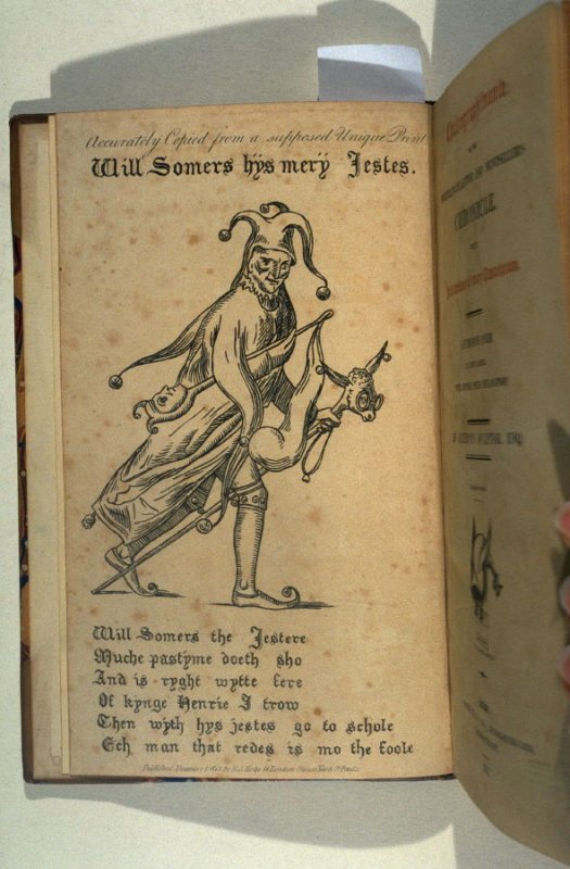 Will Somers hys mery Jestes, frontispiece in the book, Chalcographimania; or, the portrait-collector and printseller's chronicle … a humorous poem by Satiricus Sculptor (London: R. S. Kirby, 1814)