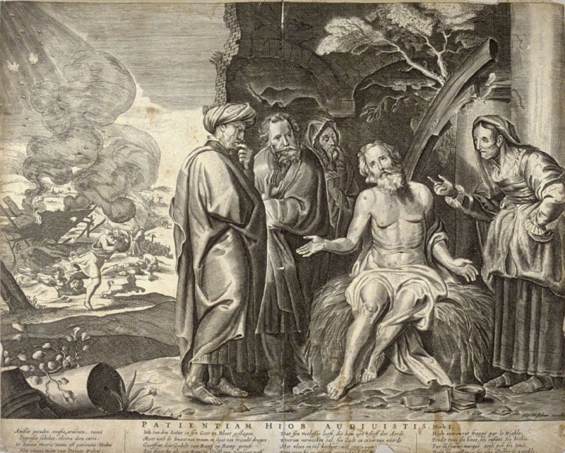 Patientiam Hiob Audiuistis (The Affliction of Job), Job 1, from a group of Biblical illustrations printed by C.J. or Nicolaes Visscher
