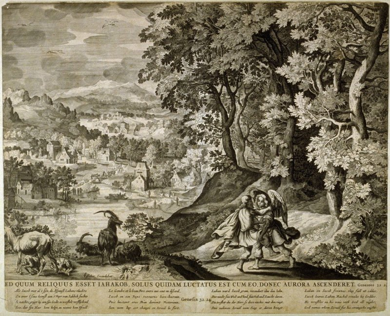 Ed Quum Reliquus Esset Iahakob, ...(Jacob wrestles with the Angel), Genesis 32:24, from a group of Biblical illustrations printed by C. J. Visscher