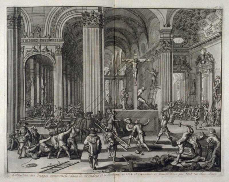Destruction of Religious Statues, starting in the Province of Flanders and Brabant in 1568, gradually spreading all over the Netherlands - Pl.5 from: Netherlands 1566-1672