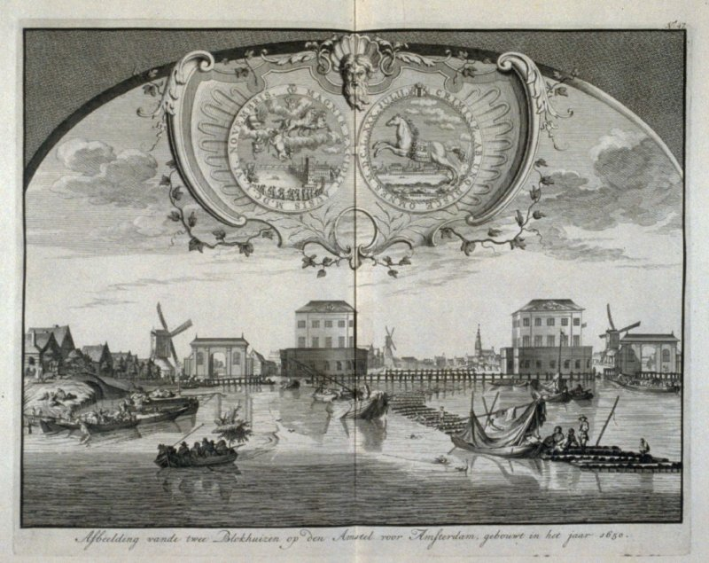 """Depiction of two """"Block-Houses"""" on the Amstel River built in the year 1650 - Pl.49 from: Netherlands 1566-1672"""