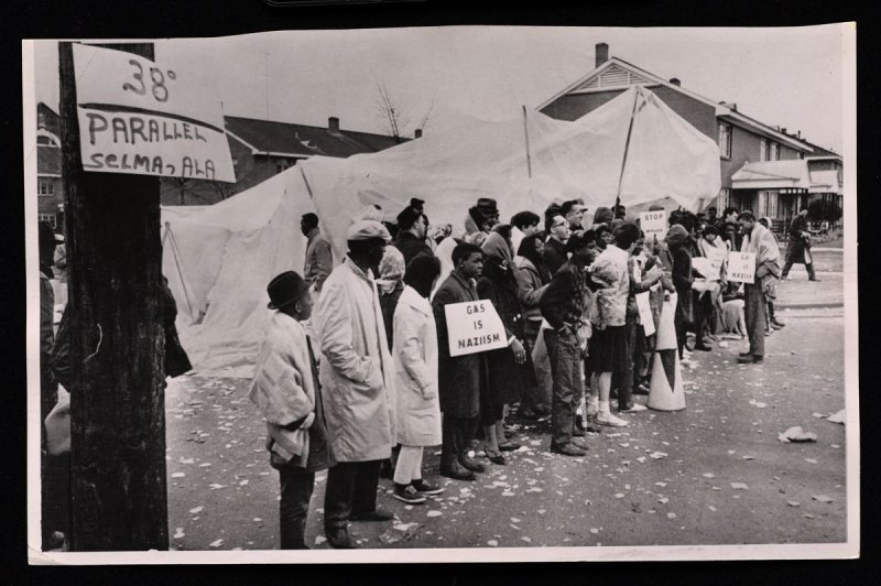 Demonstrators Stand At 38th Parallel