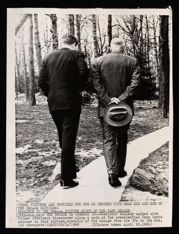 President Kennedy Walks With Former President Eisenhower