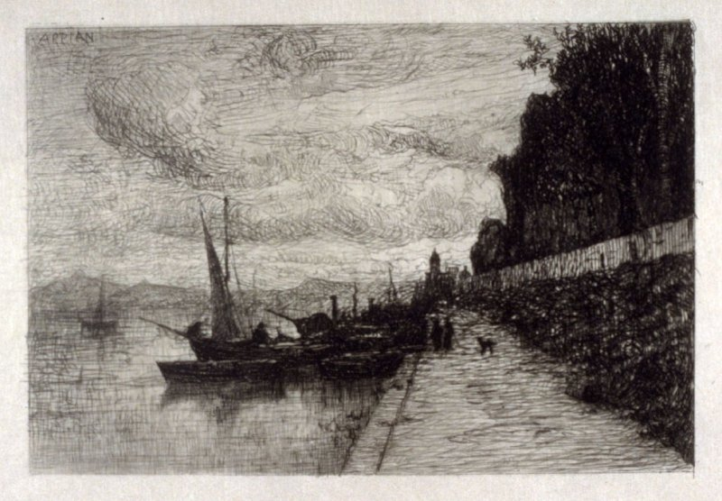 Wharf with sail boats on the river, Environs de Lyon