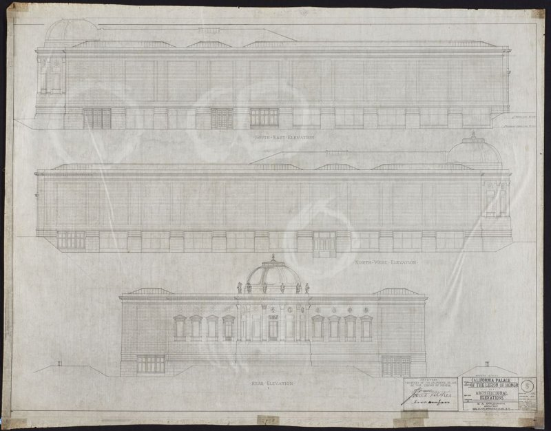 California Palace of the Legion of Honor: Elevations, eighth from a group of nineteen presentation drawings