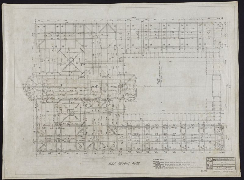 California Palace of the Legion of Honor: Roof Framing Plan, thirteenth from a group of nineteen presentation drawings