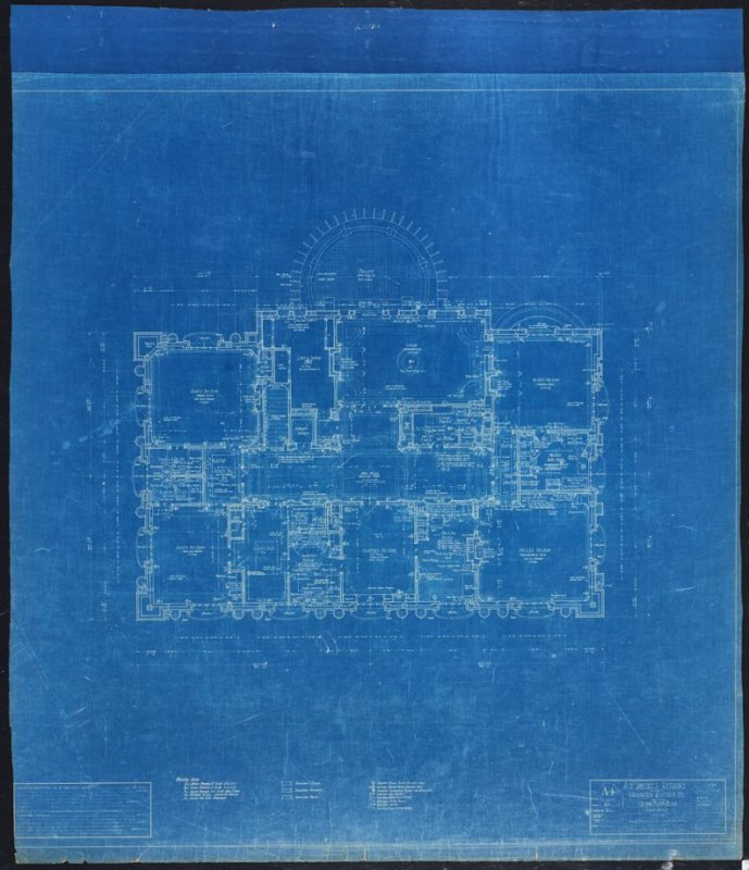 A. B. Spreckels Residence, Washington and Octavia Streets: Second Floor Plan, fourth from a group of eleven architectural blueprints