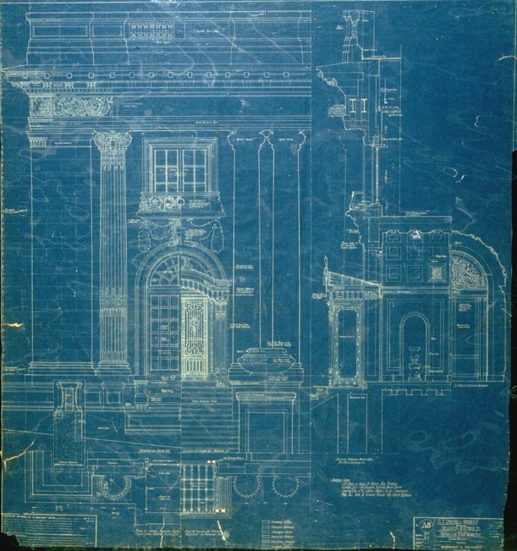 A. B. Spreckels Residence, Washington and Octavia Streets: Details of Stone Work, etc., eighth from a group of eleven architectural blueprints