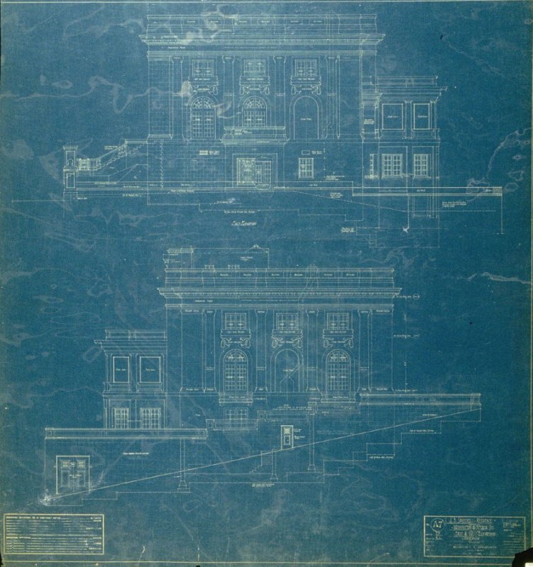 A. B. Spreckels Residence, Washington and Octavia Streets: East and West Elevations, seventh from a group of eleven architectural blueprints