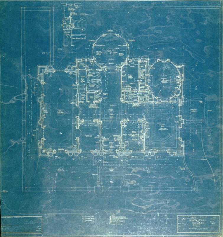 A. B. Spreckels Residence, Washington and Octavia Streets: First Floor Plan, third from a group of eleven architectural blueprints